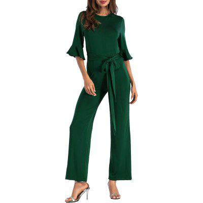 Buy BLACKISH GREEN S Bell Sleeve Belted Wide Leg Jumpsuit for $23.32 in GearBest store