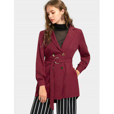 Belted Double Breasted Notch Collar Trench Coat