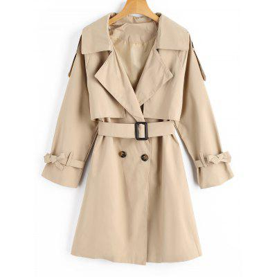 Button Up Belted Bowknot Trench Coat