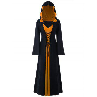 Buy BLACK AND ORANGE 5XL Halloween Hooded Plus Size Lace Up Maxi Dress for $36.23 in GearBest store