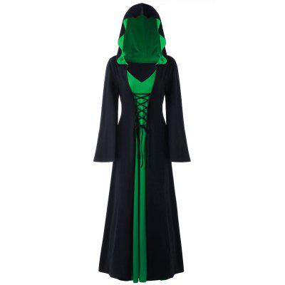 Buy BLACK AND GREEN 5XL Halloween Hooded Plus Size Lace Up Maxi Dress for $36.23 in GearBest store