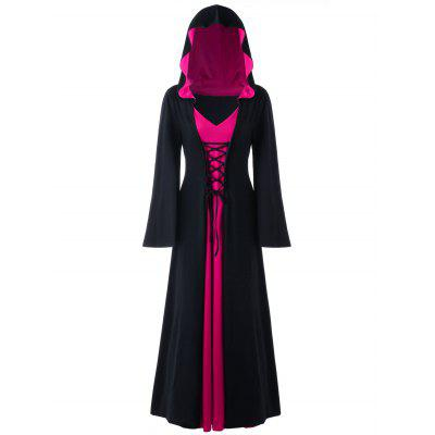 Buy BLACK + ROSE 3XL Halloween Hooded Plus Size Lace Up Maxi Dress for $36.23 in GearBest store