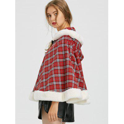 Christmas Party Plaid Hooded Cape Coat