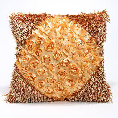 Buy Stereoscopic Rose Shape Handmade Pillow Case LIGHT YELLOW for $7.13 in GearBest store