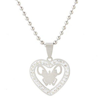 Rhinestone Heart Stainless Steel Bead Chain Necklace