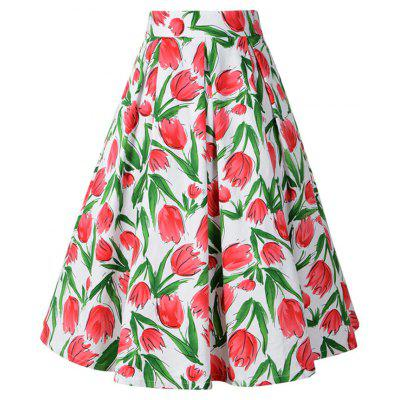 Buy RED WITH WHITE M Tulip Print Flared Midi Skirt for $21.84 in GearBest store