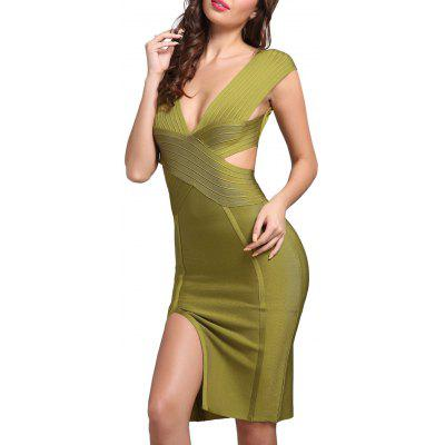 Buy GREEN L Cut Out Plunging Neck Bandage Dress for $50.76 in GearBest store