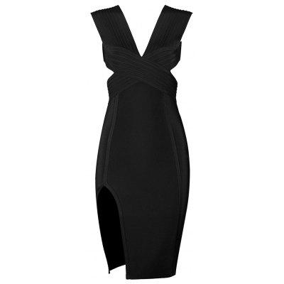 Buy BLACK M Cut Out Plunging Neck Bandage Dress for $50.76 in GearBest store