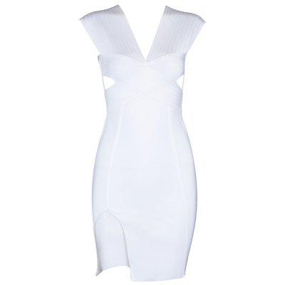 Buy WHITE M Cut Out Plunging Neck Bandage Dress for $50.76 in GearBest store