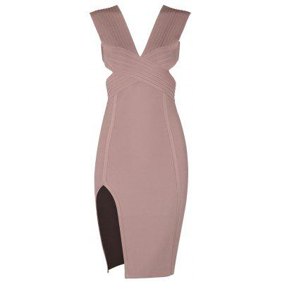 Buy PINK L Cut Out Plunging Neck Bandage Dress for $50.76 in GearBest store