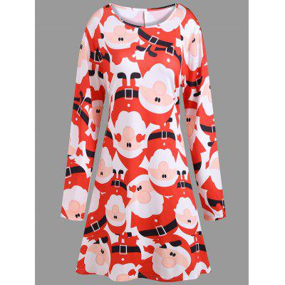 Plus Size Christmas Santa Claus Printed Dress with Sleeves