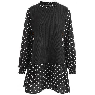Polka Dot Insert Plus Size Long Blouse