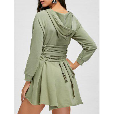 High Low Back Lace Up Hooded Dress
