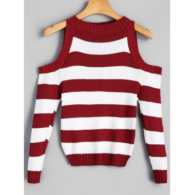Mock Neck Striped Cold Shoulder Sweater
