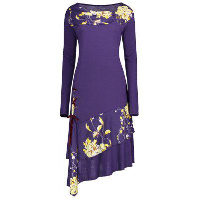 Buy PURPLE XL Floral Lace-up Panel Plus Size Long Sleeve Dress for $24.08 in GearBest store