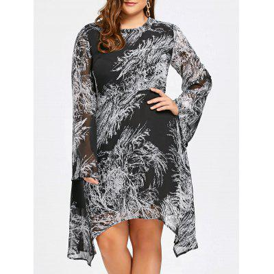 Buy WHITE AND BLACK 4XL Color Block Print Plus Size Long Sleeve Dress for $26.45 in GearBest store
