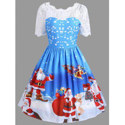 Buy BLUE M Vintage Christmas Santa Claus Print Lace Insert Dress for $23.24 in GearBest store