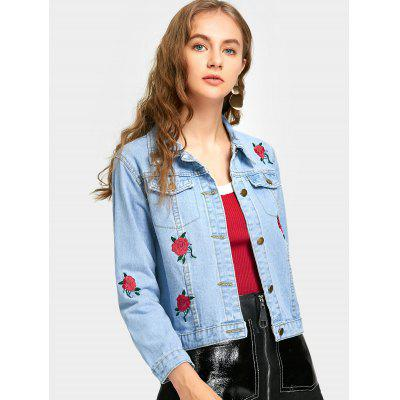 Light blue Denim Jacket with Flower Embroidered L-$30.56 Online ...