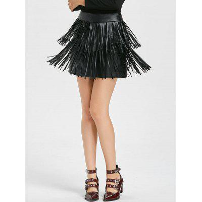 PU Leather Layered Fringe Skirt