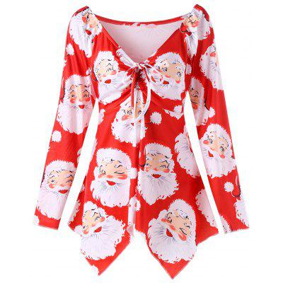 Plus Size Santa Claus Print Christmas T-shirt