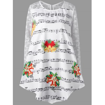 Christmas Plus Size Music Note Print Lace Insert Blouse