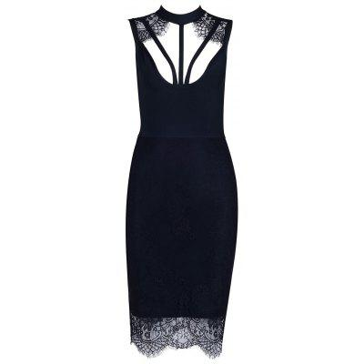 Lace Mock Neck Cut Out Bandage Dress