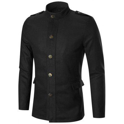 Single Breasted Stand Collar Wool Blend Jacket