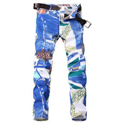 Zipper Fly Color Block Panel Tie Dye Print Jeans