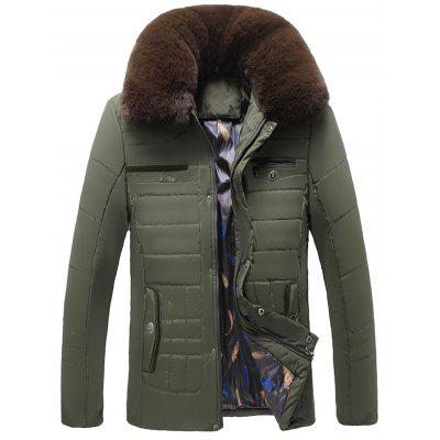 Detachable Faux Fur Collar Zip Up Quilted Coat