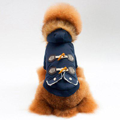 Thicken Horn Button Faux Fur Collar Hooded Coat for Dog
