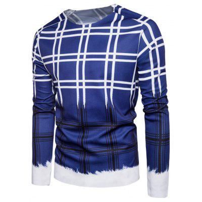Crew Neck Color Block Tartan Print Pullover Sweatshirt