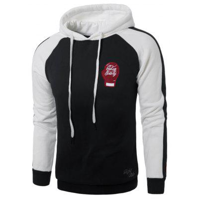 Hooded Gloves Embroidered Fleece Pullover Hoodie