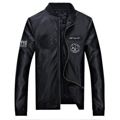 Allover Patched Bomber Faux Leather Jacket