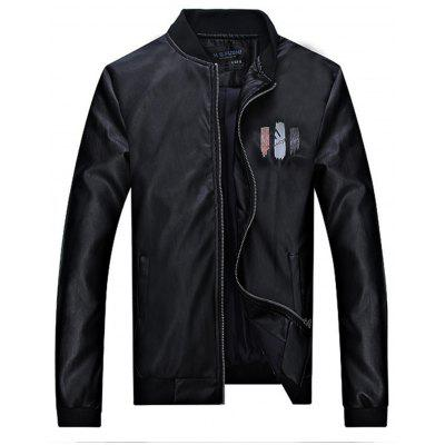 Number Letter Print Faux Leather Jacket