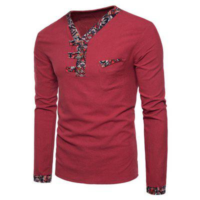 V Neck Paisley Print Panel Pocket T-shirt