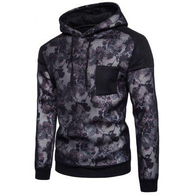 Hooded 3D Floral Print Mesh Panel Fleece Pullover Hoodie