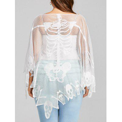 Plus Size Sheer Skull Mesh Batwing Sleeve T-shirt