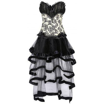Ruffled Jacquard Vintage Overbust Corset With Skirt