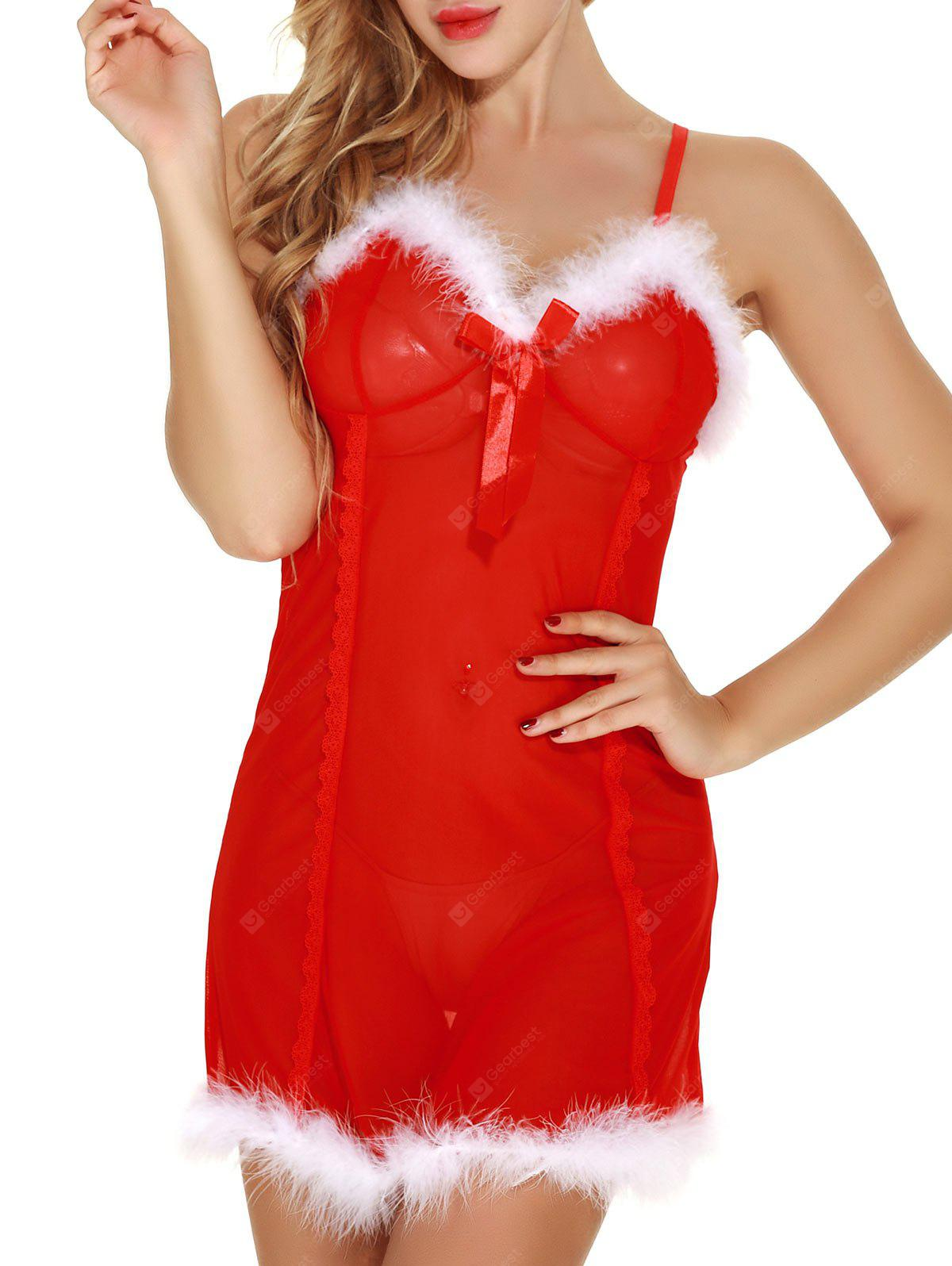 Sheer Mesh Santa Lingerie Babydoll with Feathers