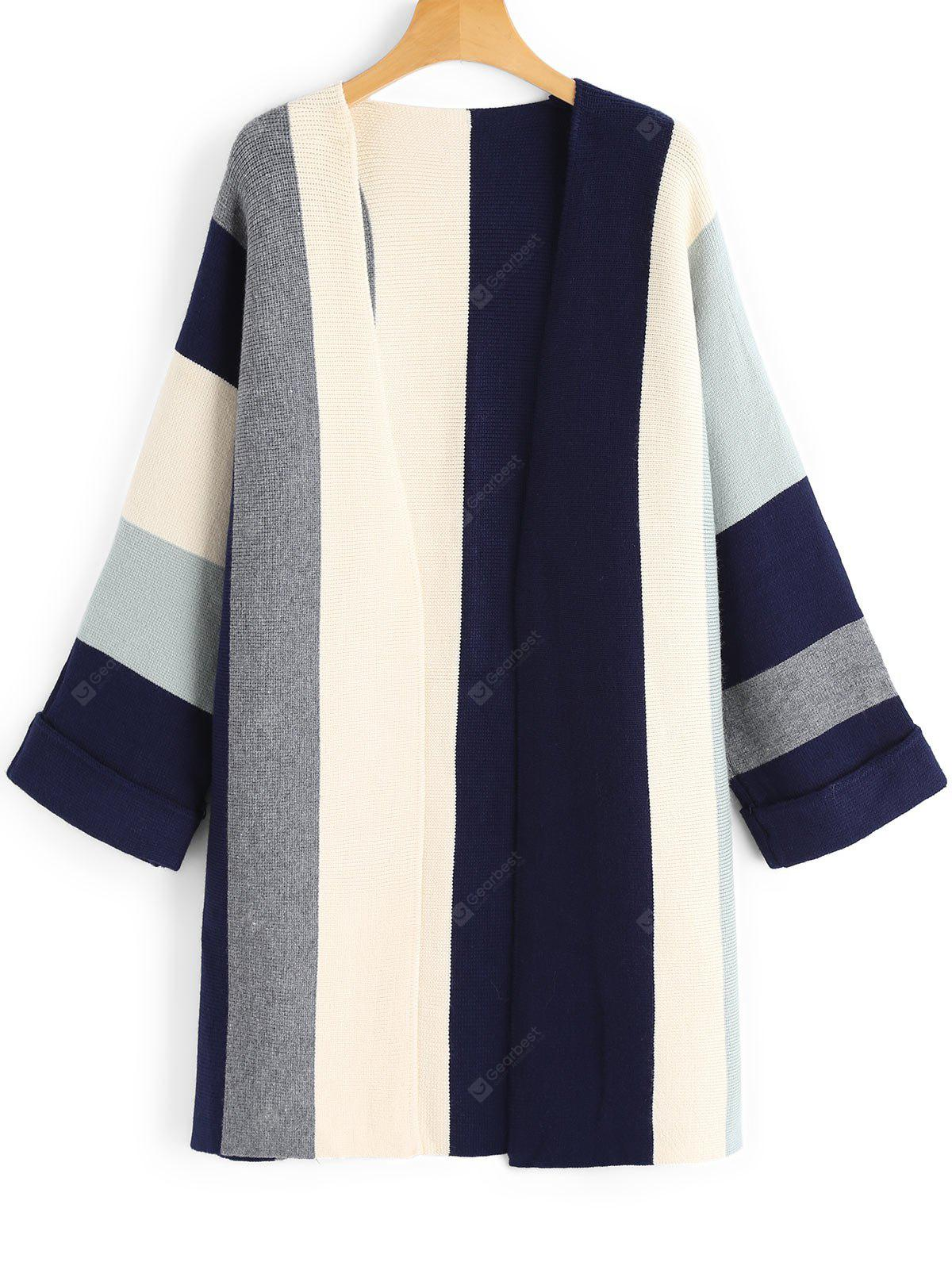 Contrasting Open Front Curled Sleeve Cardigan