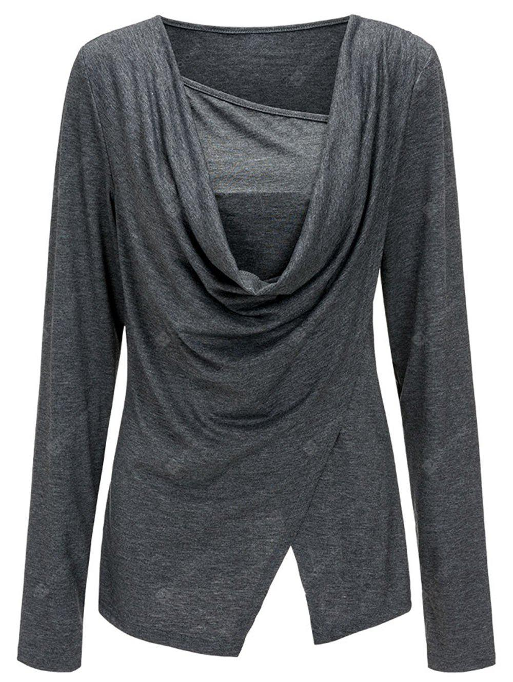 Long Sleeve Split Draped Top