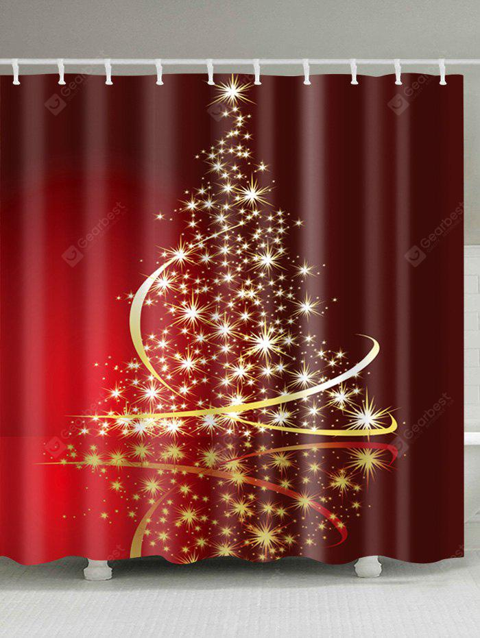 Christmas Stars Tree Print Waterproof Shower Curtain