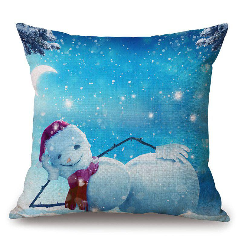 Christmas Snowman Print Decorative Thick Pillowcase