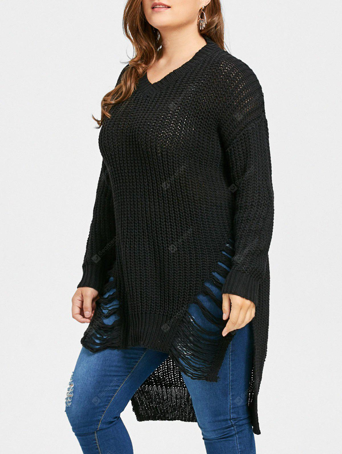 Plus Size Distressed High Low Longline Sweater