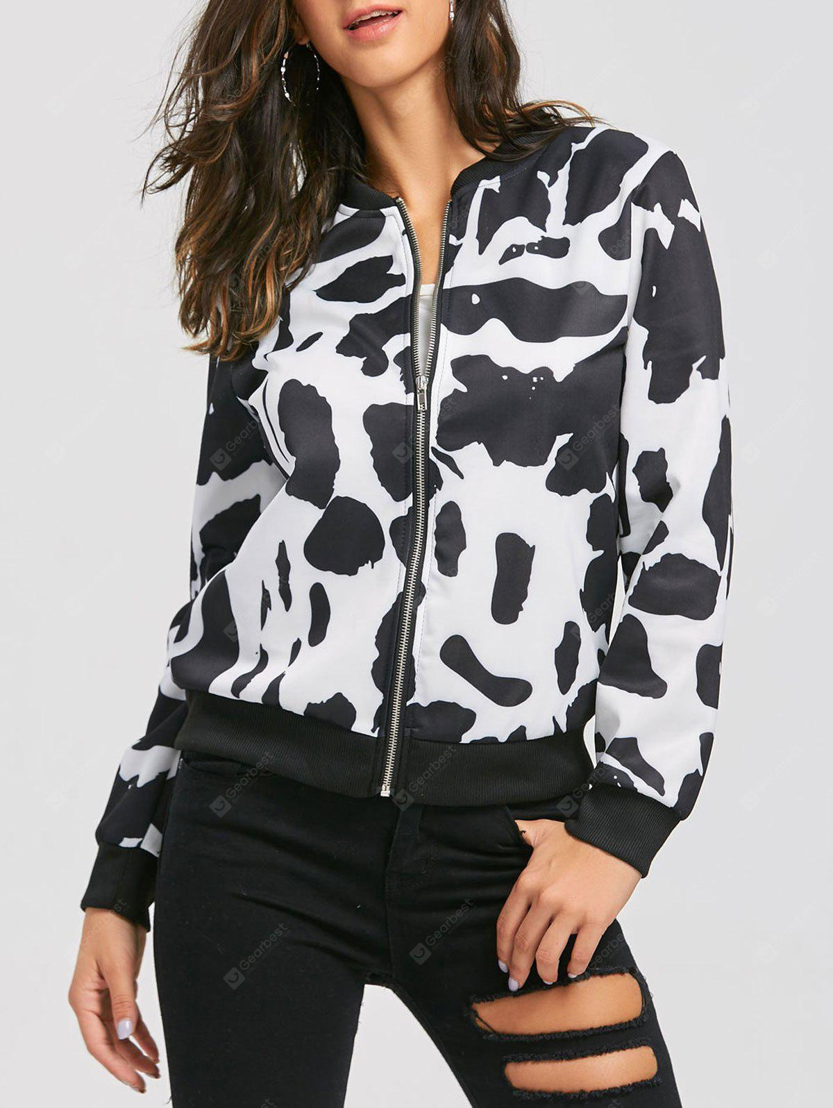 Zip Up Milk Cow Print Bomber Jacket
