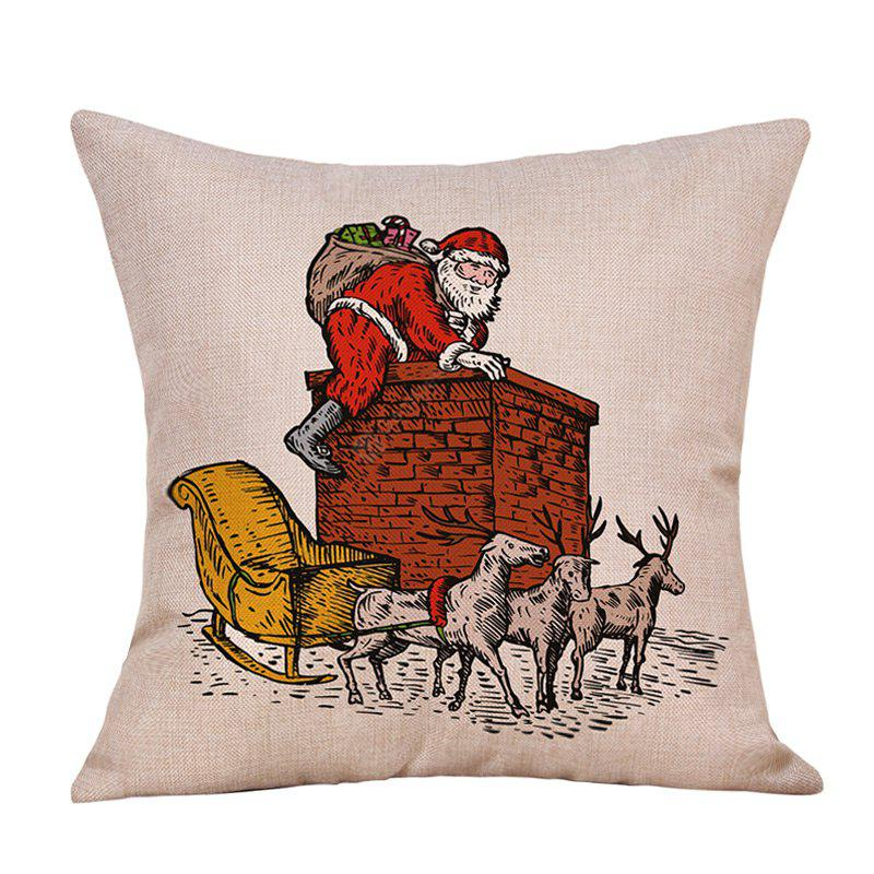 Christmas Sata Chimney Print Linen Pillowcase