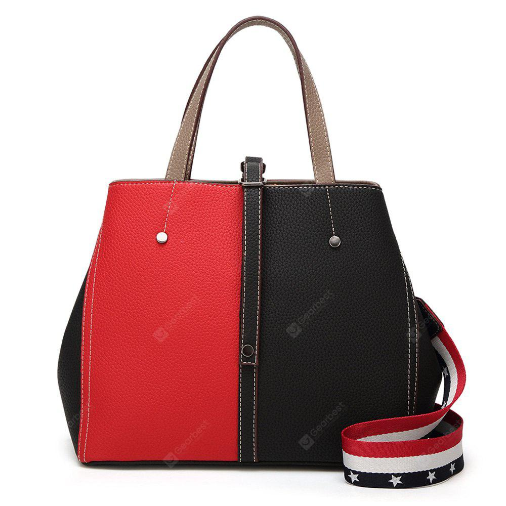 Color Block Rivets Striped Handbag