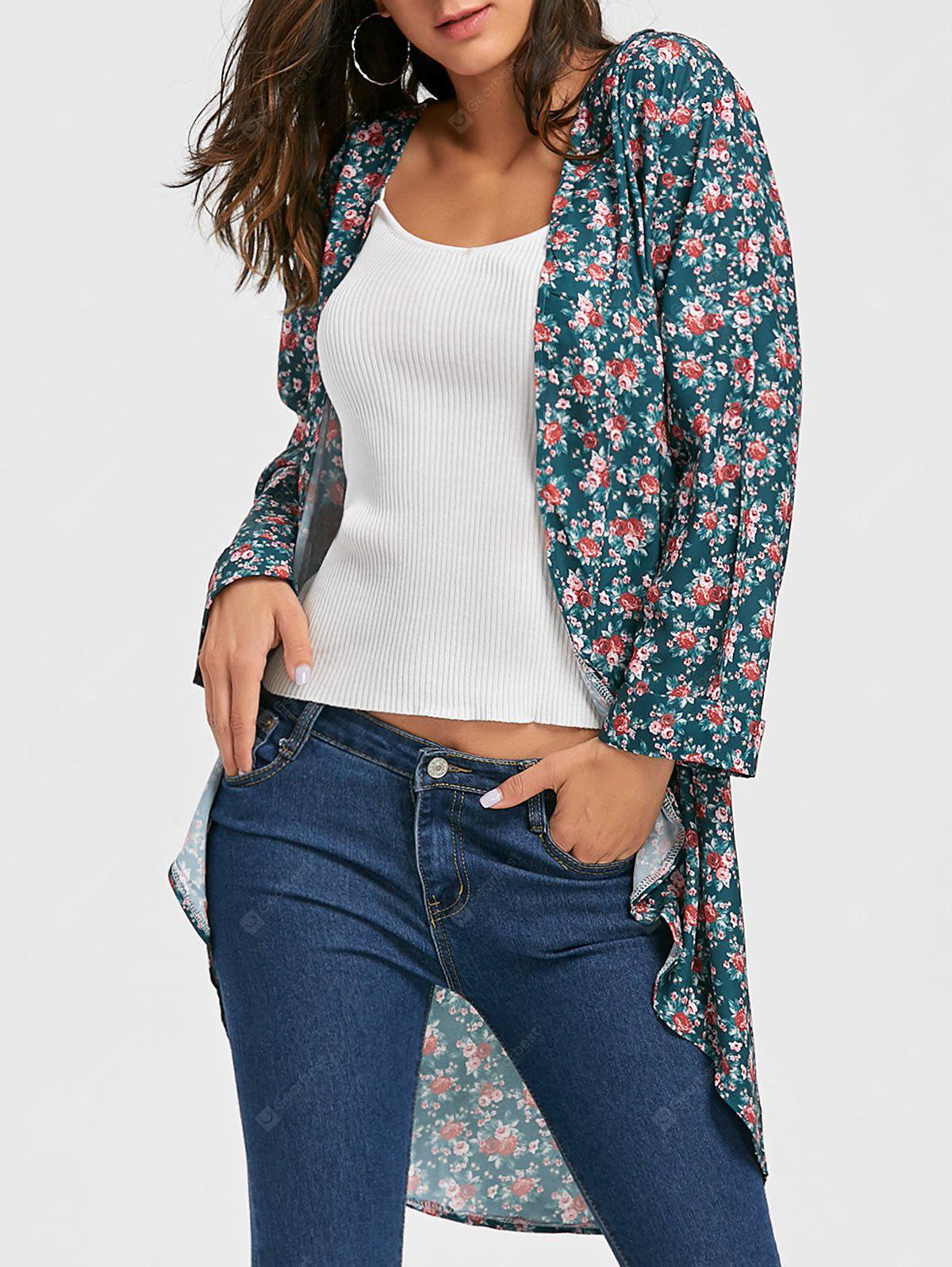 Open Front Floral Chiffon Cardigan
