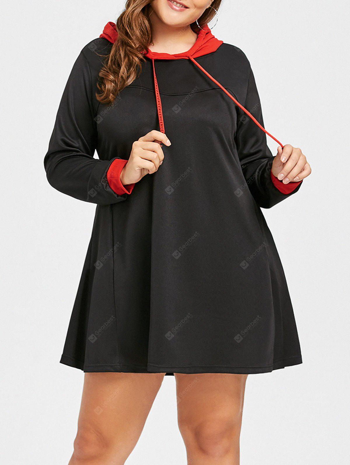 Plus Size Two Tone Drawstring Hoodie Dress
