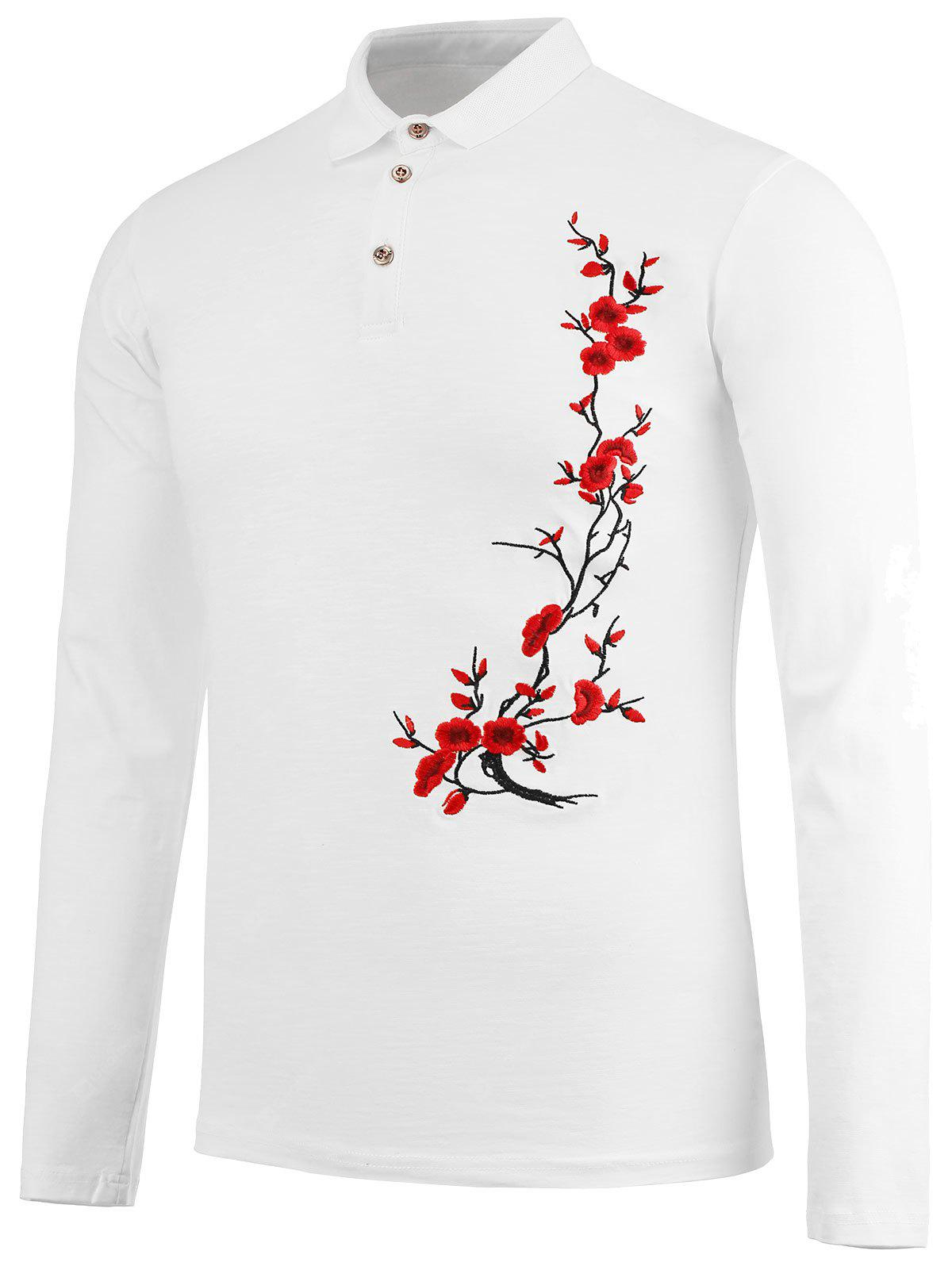 Half Button Floral Embroidery Polo Shirt